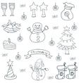 Hand draw design christmas set doodle vector image