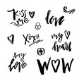 happy valentines day icons with calligraphy on vector image vector image
