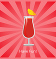 have fun summer drink grapefruit juice and vodka vector image vector image
