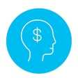 Human head with dollar symbol line icon vector image
