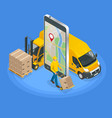 isometric concept of delivery service app on vector image