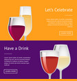 lets celebrate have drink set posters with text vector image