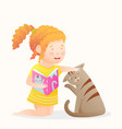 little girl holding a book reading playing with vector image