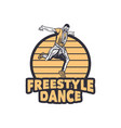 logo design freestyle dance with man dancing vector image