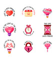 love slogans and icons valentine day double vector image vector image