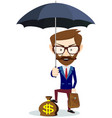 man with beard standing holding umbrella vector image vector image