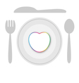 Plate dish with heart vector image