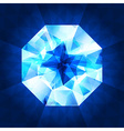Realistic diamond in top view on shiny background vector image