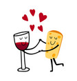 red wine and cheese characters vector image vector image