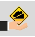 road sign steep decline icon
