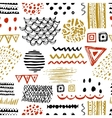 seamless pattern with hand drawn ethnic motifs vector image