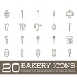 Set of Bakery Pastry Elements and Bread Icons can vector image vector image