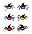 set of cute funny multi colored spiders wearing vector image vector image