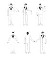 Set of six businessmen vector image