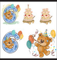 set with brown teddy bear vector image vector image
