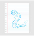 snake cartoon on paper sheet - vector image