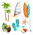 summer surf vacation items set vector image