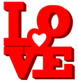 text LOVE style of Happy Valentines day card vector image