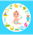 toddler infant in diaper with milk bottle at frame vector image