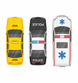 top view police ambulance car and taxi vector image