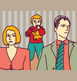 unhappy family quarrel parents divorce couple sad vector image