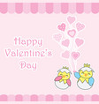 valentines day card with cute couple chicks bring vector image vector image