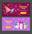 welcome party template card horizontal set vector image vector image