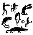Cartoon monsters silhouettes vector image