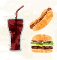 Set of fast food multicolored watercolor vector image