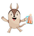 armadillo with beer on white background vector image vector image