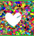 arrow heart sign white icon on colorful vector image