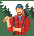 axeman with axe in forest lumberman with element vector image vector image