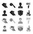 basketball and attributes blackmonochrome icons vector image