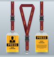 business press pass id card lanyard badges vector image