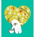 Cartoon Baby Bear with Raspberries Heart vector image vector image