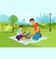 cartoon dad with son in park collect constructor vector image