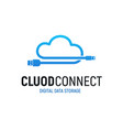 cloud data storage isolated blue logo wire vector image