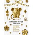 creative golden rat symbol chinese new vector image