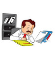 employee sleeping with files on desk vector image vector image
