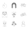 Event service set icons in outline style Big vector image vector image