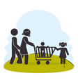 family members on park silhouette characters vector image