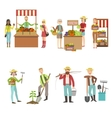 Farm Vegetables Market And People Farming Set vector image vector image