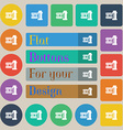 film Icon sign Set of twenty colored flat round vector image