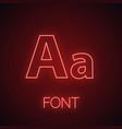 font neon light icon vector image