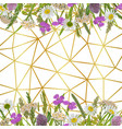 geometric gold background with greenery vector image vector image