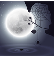 Halloween background with moon and spider vector image