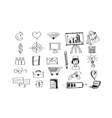 Hand doodle Business icon set idea design vector image vector image