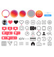 instagram mobile ui social media icon set vector image vector image
