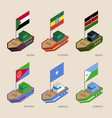 isometric ships with flags of african countries vector image vector image