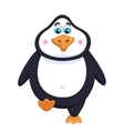 Kind cheerful cute penguin walks fat birdie takes vector image vector image